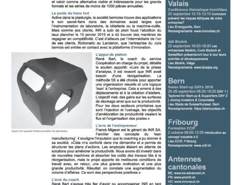 Parution d'un article sur INR SA dans le bulletin Focus Platinn n°73